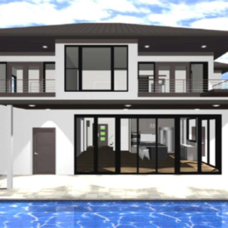 house with pool front